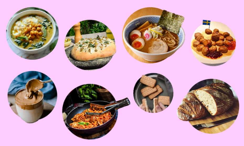 Clockwise from top left: Alison Roman's #thestew, garden focaccia, ramen, Ikea meatballs, sourdough, Arnott's scotch fingers, spaghetti bolognese and Dalgona coffee