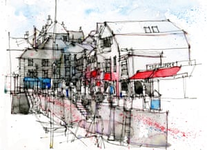 Padstow, Cornwall as drawn by Simone Ridyard of Urban Sketchers
