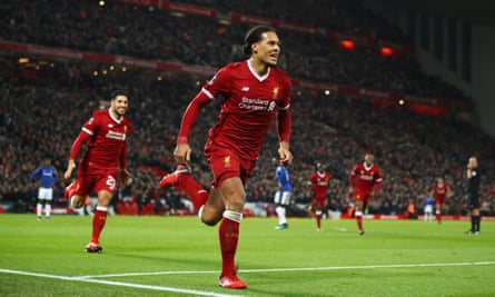 Virgil van Dijk celebrates after scoring Liverpool's winner in the Cup tie against Everton at Anfield on his debut.