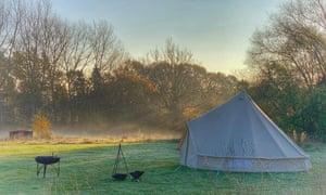 Bell tents at Wardley Hill Campsite, Norfolk