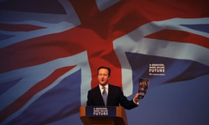 David Cameron unveils the 2015 Conservative party manifesto at a rally in Swindon