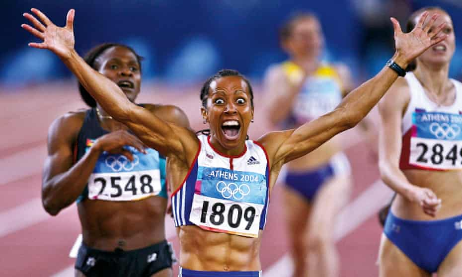 Winning gold in the 800m at Athens 2004.