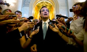 Ted Cruz leaves the Senate chamber after a marathon attack on Obamacare.