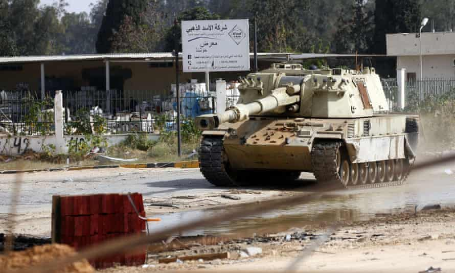A tank belonging to fighters loyal to the government of national accord during clashes with forces loyal to Khalifa Haftar south of Tripoli