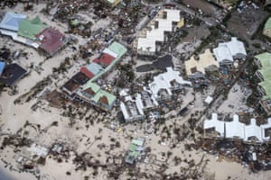 An aerial photograph shows the extent of the damage in Philipsburg by Hurricane Irma.