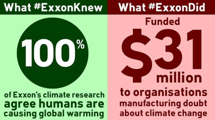 What #ExxonKnew vs what #ExxonDid.