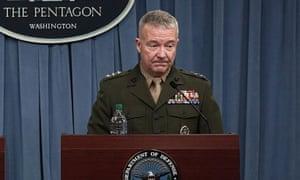 Lt Gen Kenneth McKenzie briefs the press