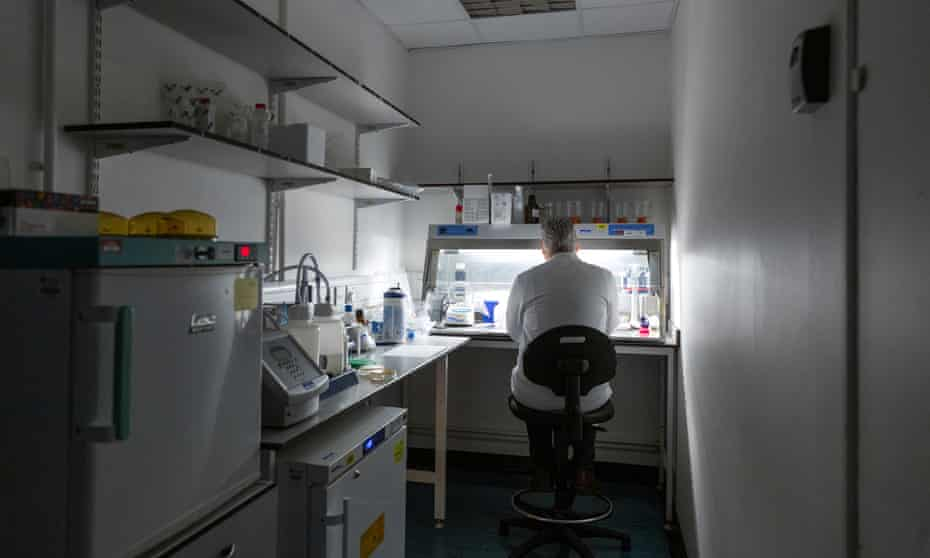 Senior research fellow Dr Paul McKay working in the lab space created exclusively to help create a Covid-19 vaccine at Imperial College in London.