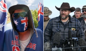 A composite showing (left) a Reclaim Australia protester and (right) an Oregon Militia protester
