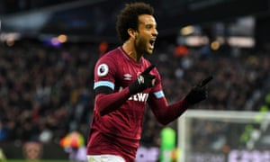 Felipe Anderson celebrates the goal that put West Ham into a 3-2 lead at the London Stadium.