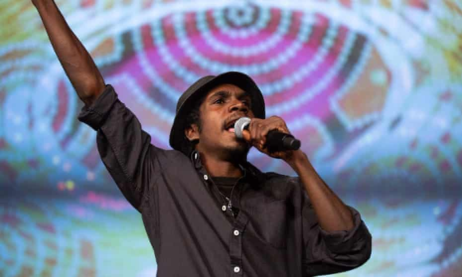 Yirrnga Yunupiŋu, the nephew of Dr. M Yunupiŋu, performing in King Stingray.