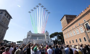 Italian air force jet over Rome on Republic Day. The anniversary marks the founding of the Italian Republic in 1946.