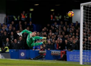Martin Dubravka, the Newcastle United goalkeeper, is beaten by a shot from Willian for the second Chelsea goal in a win 2-1. The Blues have only lost one of their 12 Premier League matches at Stamford Bridge this season, drawing four and winning the other seven.