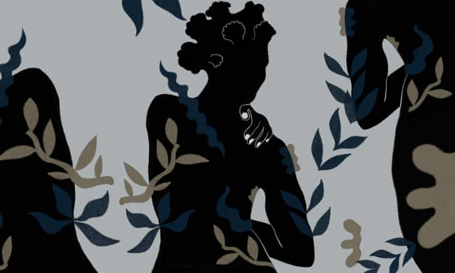 illustration: dark silhouettes with leaf motifs floating in foreground