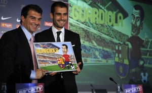 Joan Laporta, here presenting Pep Guardiola as Barcelona's new coach in 2008, says of the Manchester City manager: 'He's the world's best coach.'