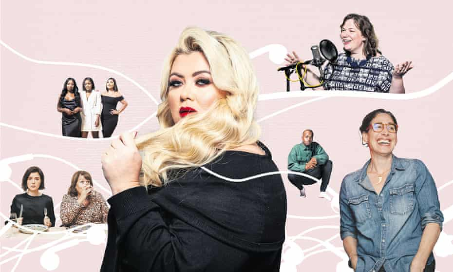 Left to right: Jessie Ware and her mother Lennie, hosts of Table Manners; Audrey Akande, Tolani Shoneye and Milena Sanchez of The Receipts; Gemma Collins, George the Poet, Helen Zaltzman of The Allusionist and Sarah Koenig of Serial.
