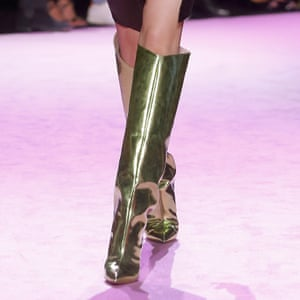 Gold leather boots