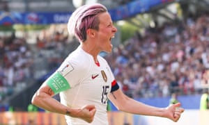 Megan Rapinoe celebrates scoring what proved the winner with her second successful penalty of the USA's last-16 game against Spain