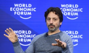 """Don't panic, we're here now."" Google co-founder Sergey Brin during a session of the World Economic Forum in Davos."
