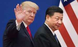 Xi Jinping and Donald Trump leave a business leaders' event at Beijing's Great Hall of the People last week