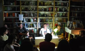 A reading at the Lohvinau book shop in Minsk.