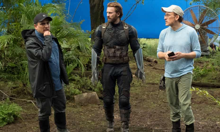 'We are always happy to talk about Marvel': Joe Russo, Chris Evans and Anthony Russo filming Avengers: Infinity War, 2018.