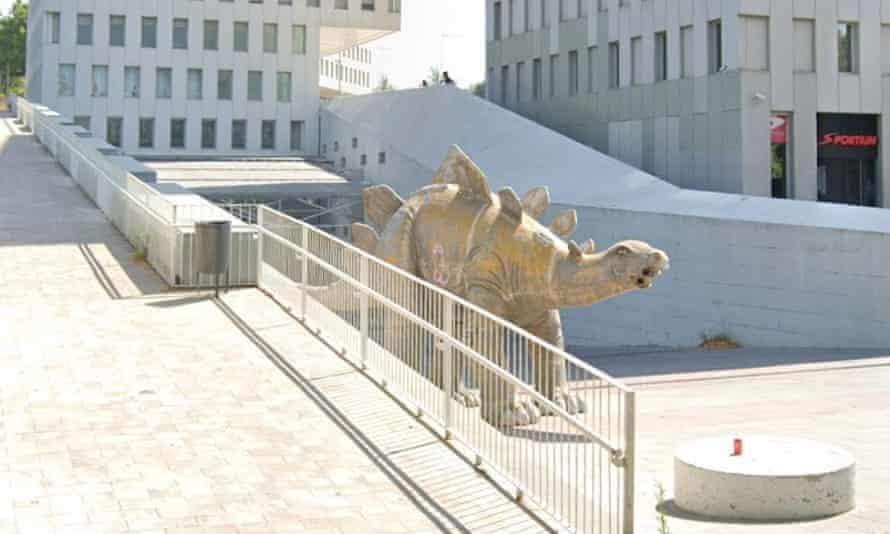 The papier-mache stegosaurus in the Barcelona suburb of Santa Coloma de Gramenet.