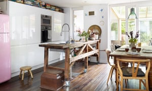 That 'would work': the kitchen island, made from an old carpenter's workbench bought on eBay.