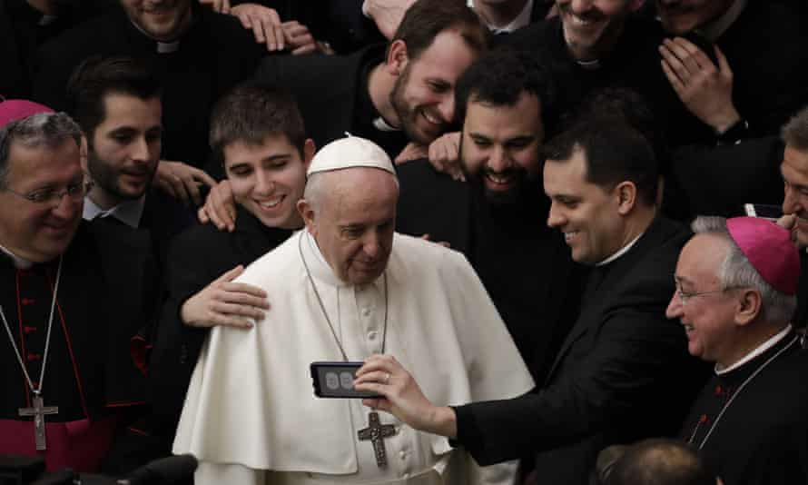 Pope Francis with priests at the end of his weekly general audience at the Vatican on Wednesday.