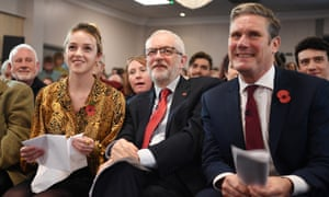 Corbyn with Labour's candidate for Harlow, Laura McAlpine, and the shadow Brexit secretary, Keir Starmer.