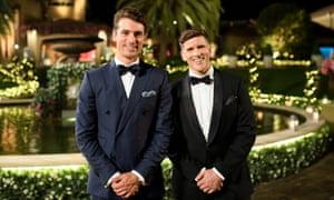 Günsberg (r) with The Bachelor Australia's 2017 bachelor, Matty J.