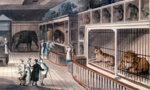 The Royal Menagerie in London, circa 1820. Edward Cross kept his menagerie here until 1829, keeping an elephant, lion, tiger, apes and parrots. After Thomas Rowlandson (1756-1827). Oxford Science Archive. --- Image by Heritage Images/Corbis