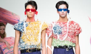 Twins in 3D glasses at the Charles Jeffrey Loverboy show.