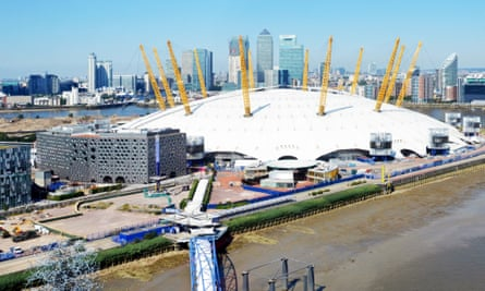 The 02 Arena, on the Greenwich peninsula in south-east London