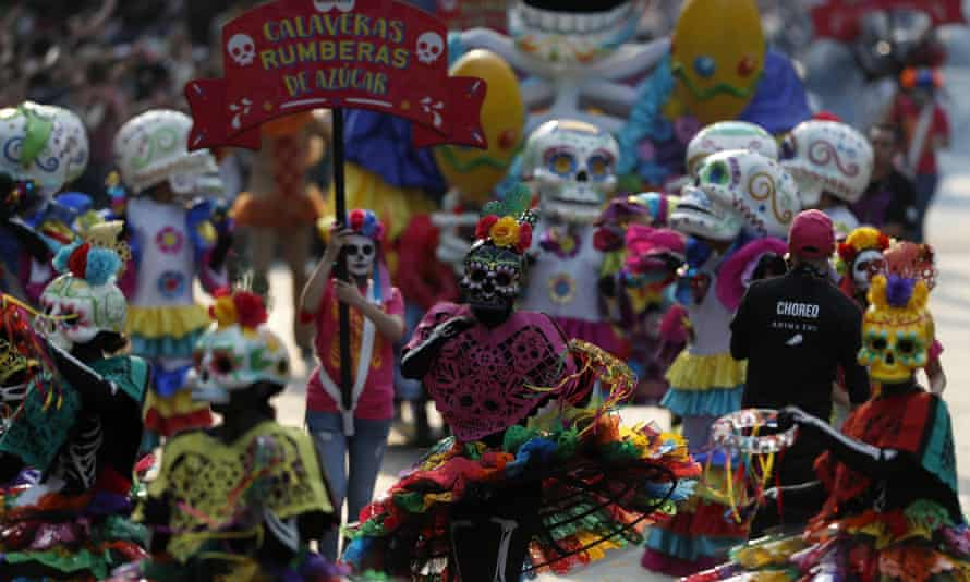 Day of the Dead parade in Mexico City, Mexico.