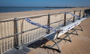 A deserted Ostend beach, in Belgium, on 5 April.
