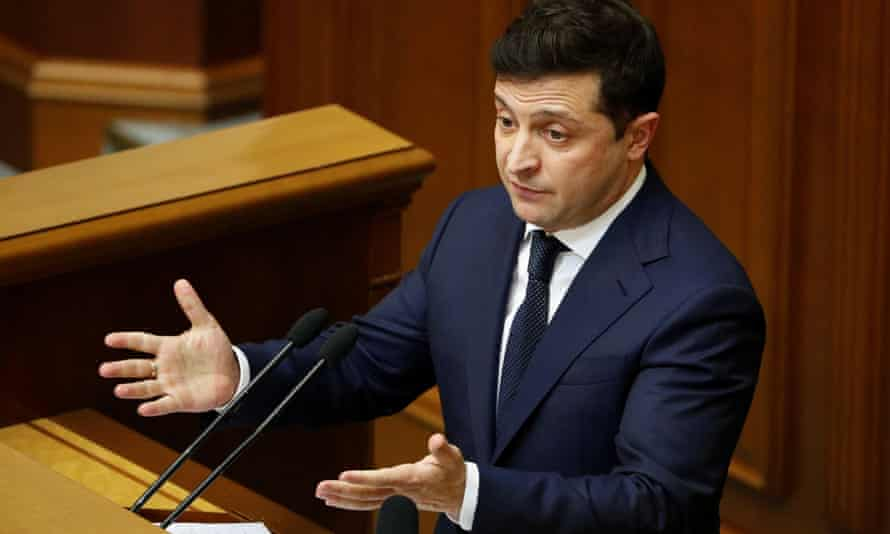 Volodymyr Zelenskiy delivers a speech in Ukraine's parliament on Wednesday