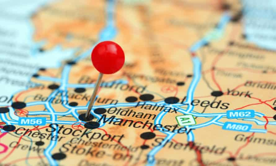 Manchester pinned on map of Europe