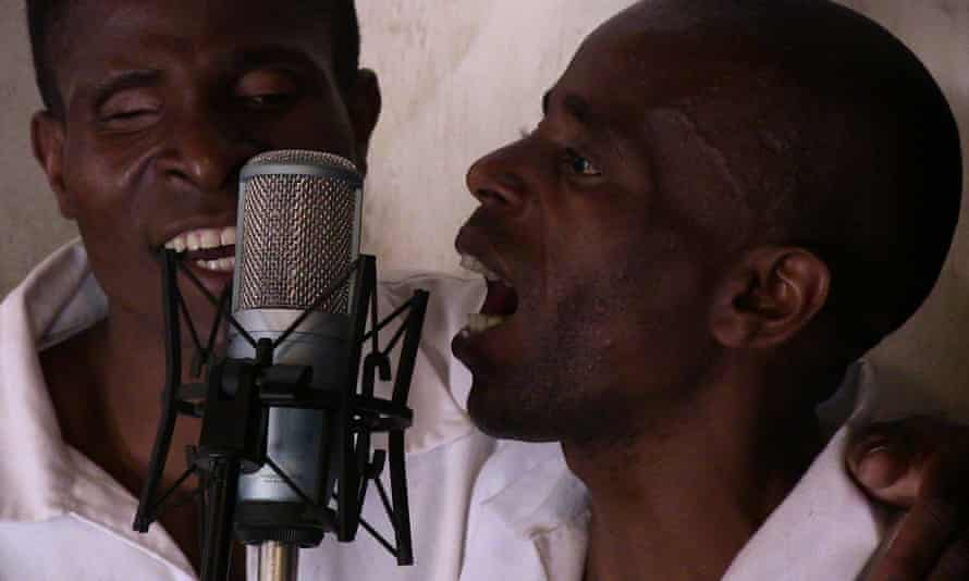 Members of the Zomba Prison band recording a song inside the high-security complex.