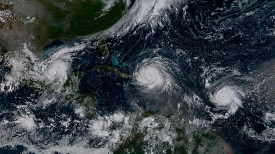 This historic image from NOAA's GOES-16 satellite shows hurricanes Katia (left), Irma (center), and Jose (right). It was the first time on record that three major hurricanes made landfall at the same time in the Atlantic-Caribbean region.