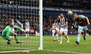 Chris Wood heads home the winner in Burnley's 2-1 victory over West Brom at the Hawthorns in March 2018