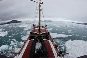 UC Irvine glaciologists aboard the MV Cape Race in August 2014 mapped for the first time remote Greenland fjords and ice melt that is raising sea levels around the globe.