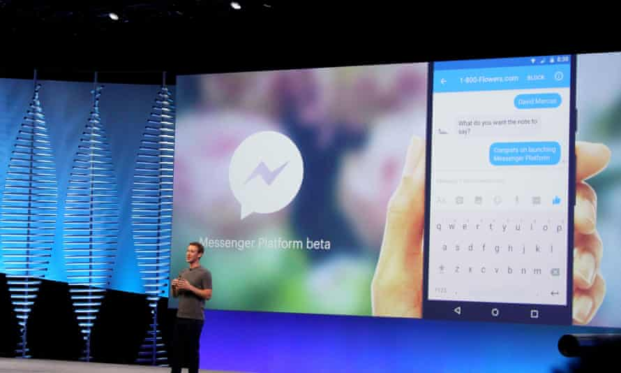 Facebook chief Mark Zuckerberg unveiling his company's plans for messaging bots.