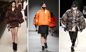 Models wearing puffer jackets at catwalk shows in 2015.