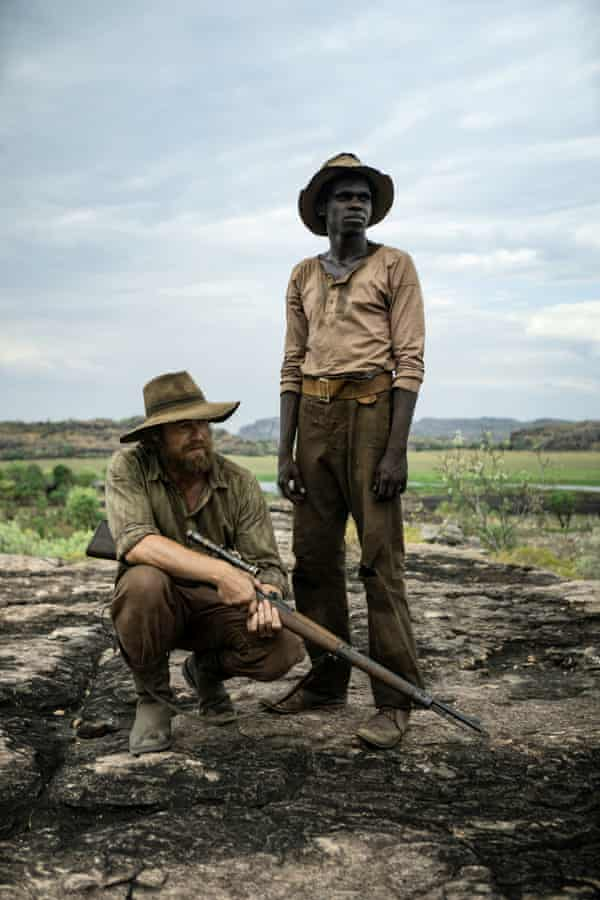 An       image from the Australian film High Ground, starring Simon Baker       and Jacob Junior Nayinggul