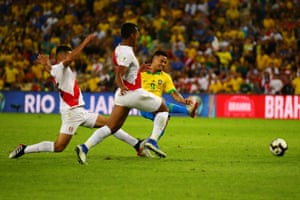 Jesus scores the first for Brazil as the hosts go on to win 3-1.