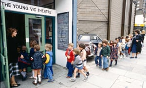 School children arriving for a performance of Fayre Play at the Young Vic Theatre in 1978, as part of its education programme.