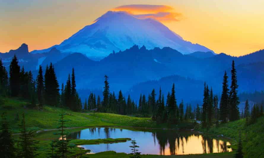 Blue ridge mountains? Not in Virginia. This is Mount Rainier at sunset from Tipsoo Lake.<br>