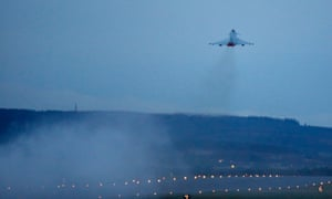 A Eurofighter Typhoon jet takes off from the UK as the RAF prepares to carry out British airstrikes in Syria.