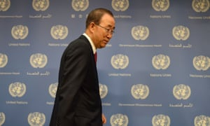 United Nations Secretary-General Ban Ki-moon standing
